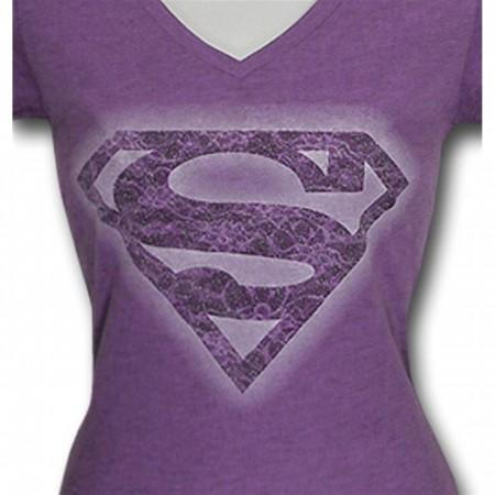 Supergirl Junior Womens Purple Stencil T-Shirt