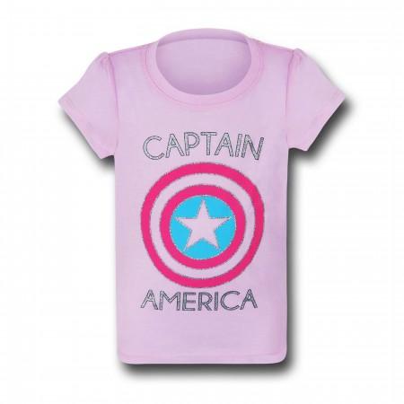 Captain America Symbol on Pink Girls Kids T-Shirt