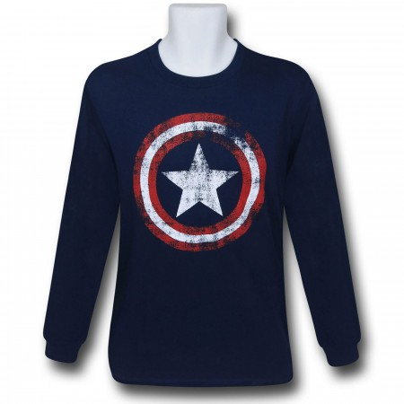 Captain America Navy Distressed Long Sleeve T-Shirt
