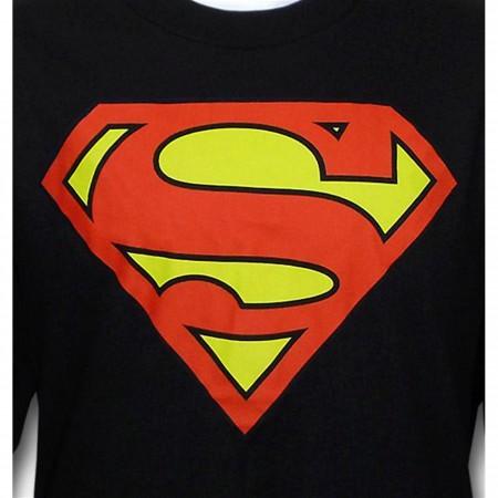 Superman Symbol Black Long Sleeve T-Shirt