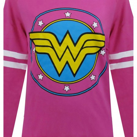 Wonder Woman Pink French Terry Longsleeve Women's T-Shirt