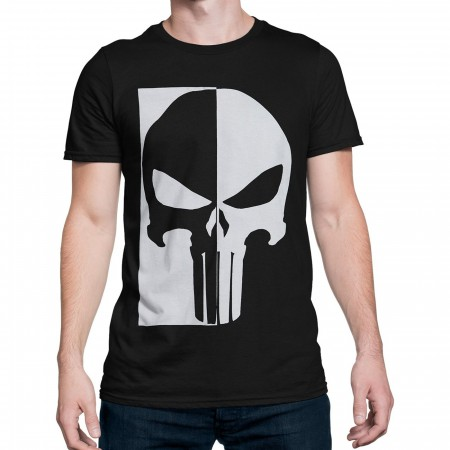 Punisher Black & White Skull Men's T-Shirt