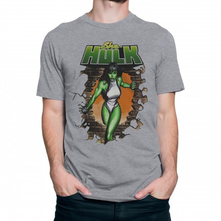 She-Hulk Busting Bricks Men's T-Shirt