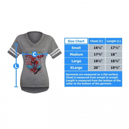Spider-Man Athletic Women's Burnout V-Neck T-Shirt