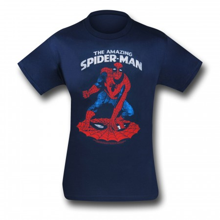 Spider-Man Web Crouch Navy (30 Single) T-Shirt