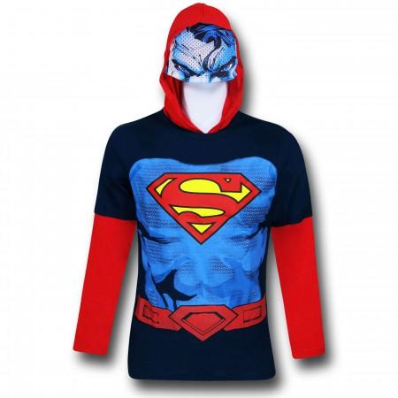 Superman Hooded Costume Kids Double-Sleeve T-Shirt