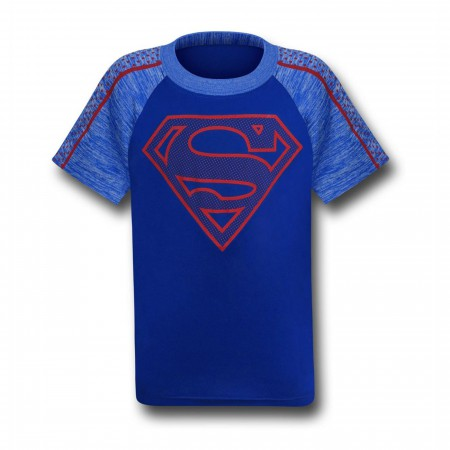 Superman Kids Symbol on Blue Space Dye T-Shirt