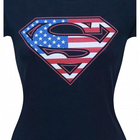 Superman Navy Flag Women's T-Shirt