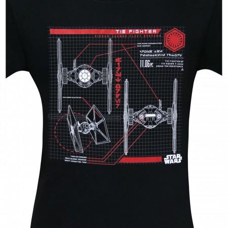 Star Wars The Last Jedi Tie Fighter Plans Men's T-Shirt