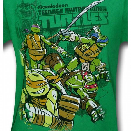 TMNT Kids Smiling Action Green T-Shirt