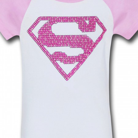 Supergirl Girls Pink Pattern Symbol T-Shirt