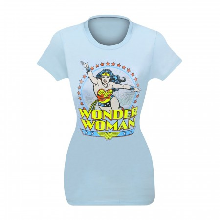Wonder Woman Blue Distressed Circle Women's T-Shirt