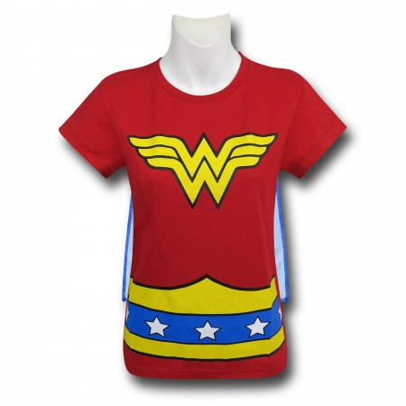 Wonder Woman Stars Caped Costume Girls T-Shirt