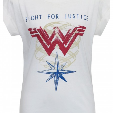 Wonder Woman For Justice Women's Roll Sleeve T-Shirt