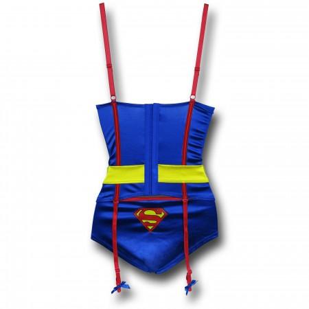 Superman Corset & Panty Set w/ Garters