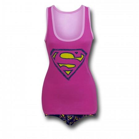 Supergirl Symbols on Pink Women's Tank & Panty Set