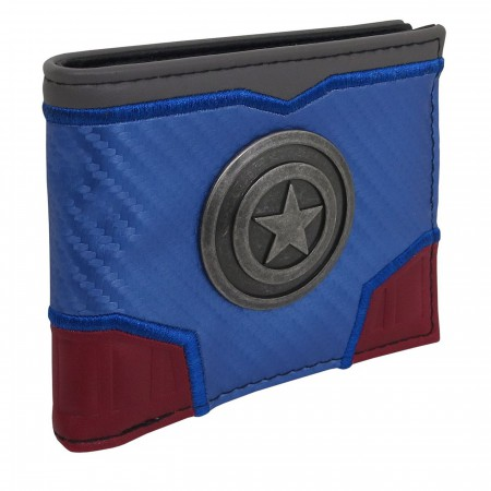 Captain America Metal Shield Carbon Fiber Bi-Fold Wallet