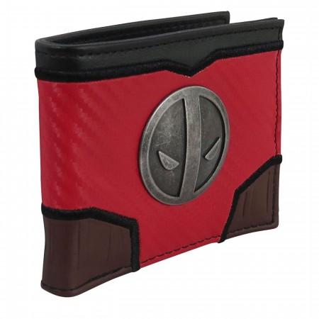 Deadpool Metal Symbol Carbon Fiber Bi-Fold Wallet