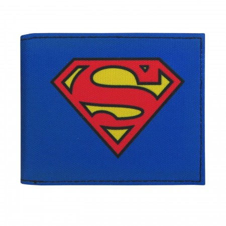 Superman Symbol on Blue Bi-Fold Wallet