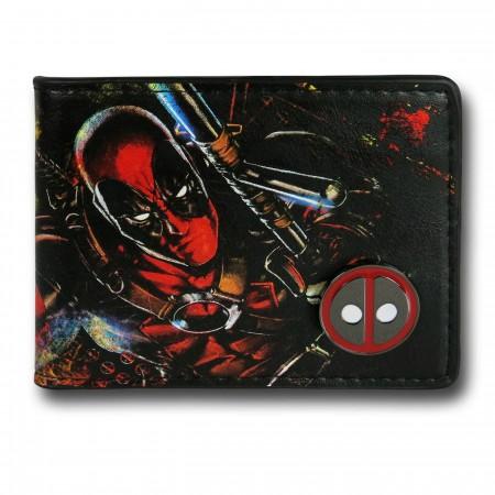Deadpool Bi-Fold Wallet with Metal Emblem