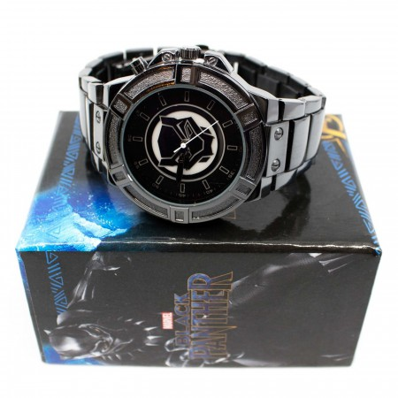 Black Panther Backlight Symbol Watch with Metal Band