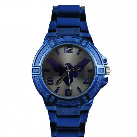 Nightwing Symbol Blue Watch with Metal Band