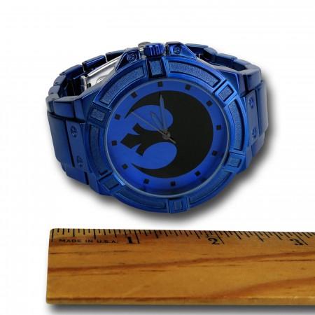 Star Wars Rebel Symbol Blue Watch with Metal Band