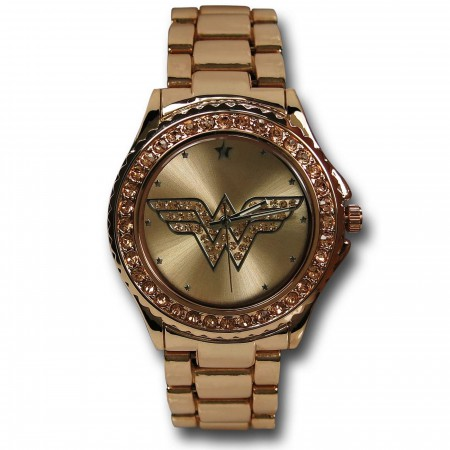 Wonder Woman Symbol Rose Gold Watch with Metal Band