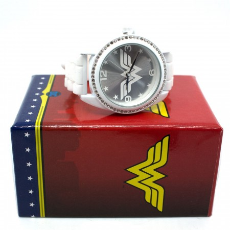 Wonder Woman Symbol Silver Watch with Rubber Band