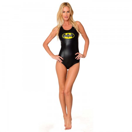 Batman Black Ladies Racerback One Piece Swimsuit