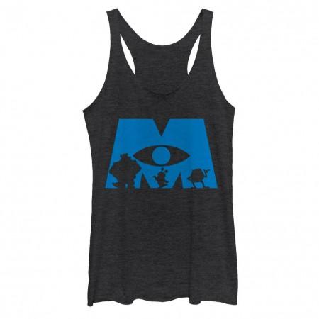 Disney Pixar Monsters Inc University Simple Silhouette Logo Black Juniors Racerb