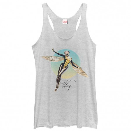 Marvel Teams Graceful Wasp White Juniors Racerback Tank Top