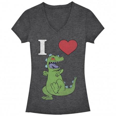 Rugrats Nickelodeon Heart Reptar Gray Juniors V Neck T-Shirt