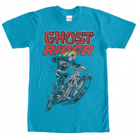 Ghost Rider Hot Head Blue Mens T-Shirt