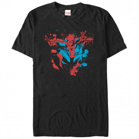 Spiderman Spider Splatter Black Mens T-Shirt