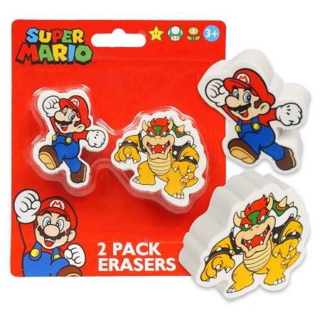 Mario and Bowser 2-Pack Eraser Pack
