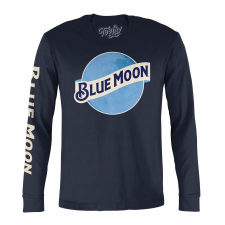 Blue Moon Logo Sleeve Print Navy Blue Long Sleeve Shirt