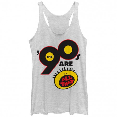 All That Nickelodeon All That 90s White Juniors Racerback Tank Top