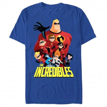 Disney Pixar The Incredibles All Of Them Blue T-Shirt
