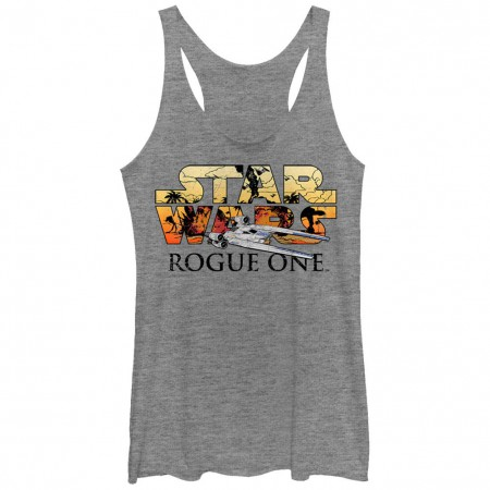 Star Wars Rogue One U-Wing Logo Gray Juniors Racerback Tank Top