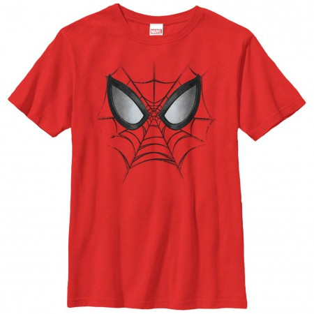 Spider-Man Web Face Red Youth T-Shirt