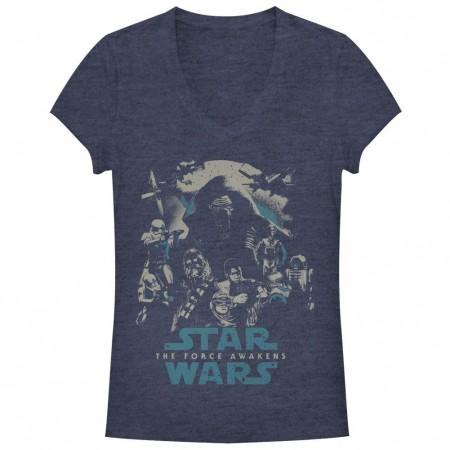 Star Wars Episode 7 Poster Out Blue Juniors V Neck T-Shirt