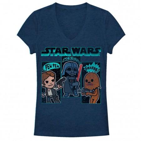 Star Wars Sound Effects Blue Juniors V Neck T-Shirt