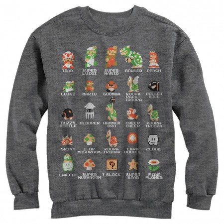 Nintendo Pixel Cast Gray Long Sleeve T-Shirt