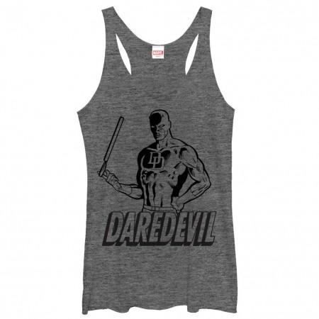 Daredevil Outline Gray Juniors Racerback Tank Top