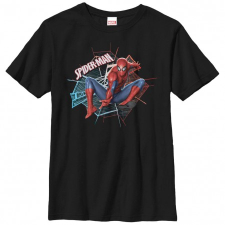 Spiderman Spider Badge Black Youth T-Shirt
