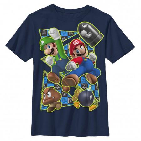 Nintendo Super Kicker Blue Youth T-Shirt