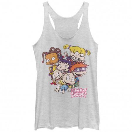 Rugrats Nickelodeon Rugrats Pile White Juniors Racerback Tank Top