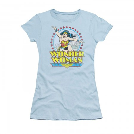 Wonder Woman Star of Paradise Blue Ladies Graphic T-Shirt