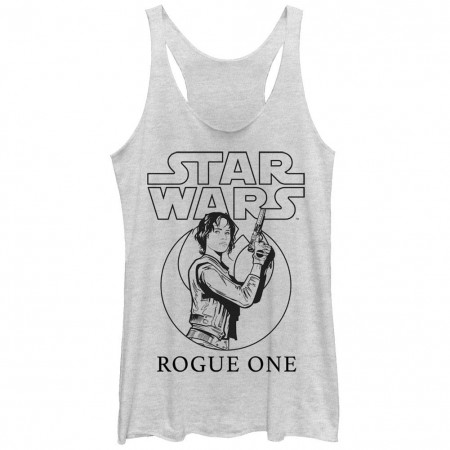 Star Wars Rogue One Jyn Outline White Juniors Racerback Tank Top
